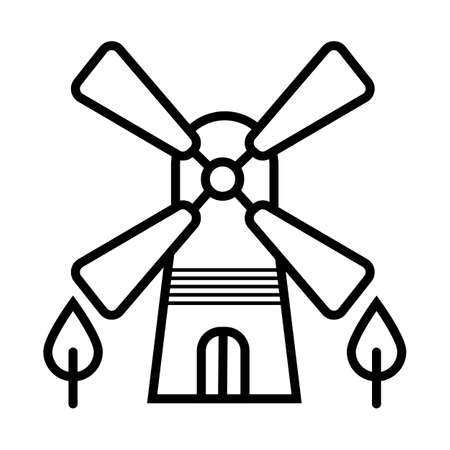 Windmill icon silhouette vector illustration Vektoros illusztráció