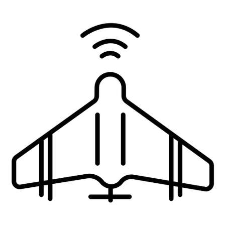 Unmanned aerial vehicle icon in single color. Aviation technology military drone modern warfare Illustration