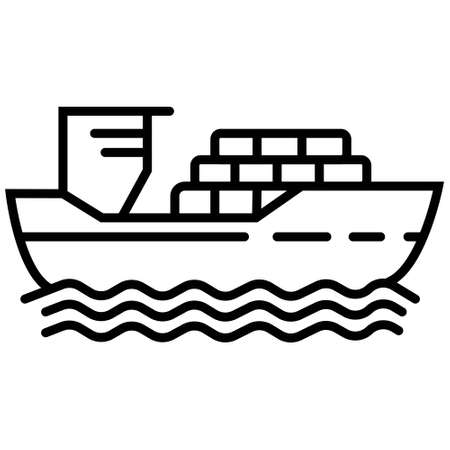 thin line cargo ship with shadow. concept of seaport emblem, voyage, shipbuilding, trip, anchor. flat outline style trend modern logotype template design art vector illustration on white background
