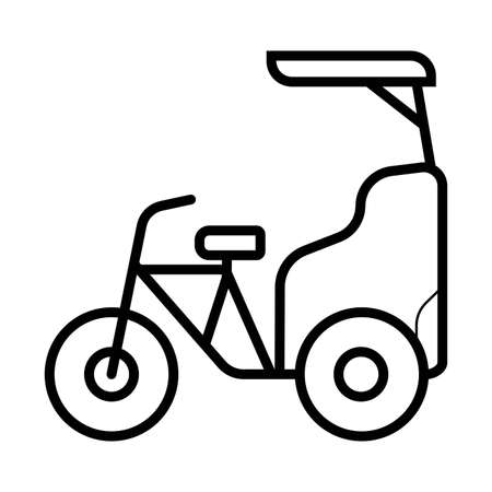 Cycle rickshaw glyph icon. Velotaxi, pedicab. Silhouette symbol. Negative space. Vector isolated illustration  Illustration