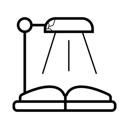 desk lamp and an open book. Illustration