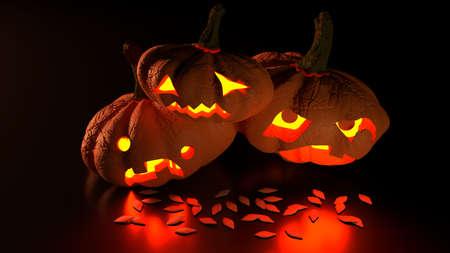 3D illustration of scary glowing halloween jack-o-lanterns Reklamní fotografie