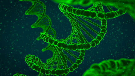 Abstract 3d illustration of dna double helix with DNA fragments