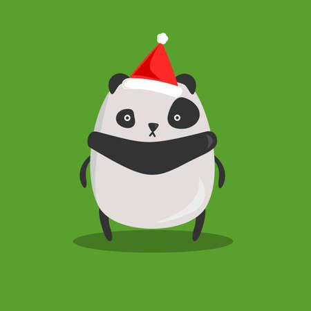 Chubby Panda Christmas Vector