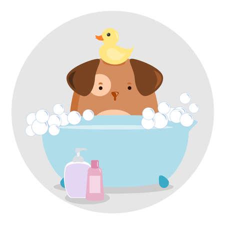 Dog Having a Bath Stock Vector - 25126665