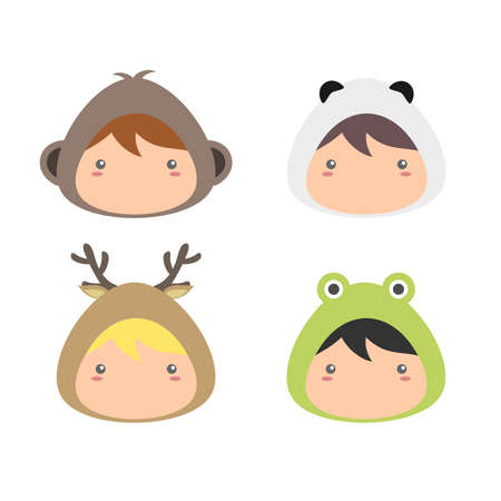 Kids Wearing Animal Costumes Vector
