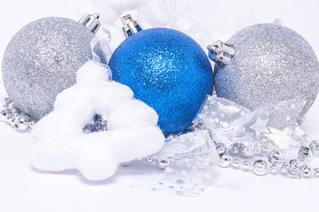 Christmas background with Christmas decoration : balls,ribbons,christmas tree photo