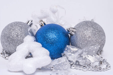 Christmas background with balls, christmas tree , ribbons and decoration photo