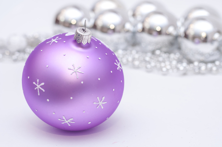 purple and silver xmas decoration christmas card with pace for stock photo 33984020