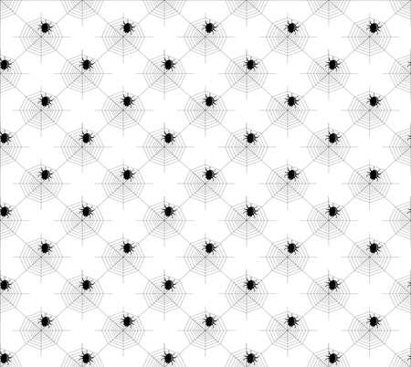 spider web: seamless pattern with spider, spider web, black and white pattern