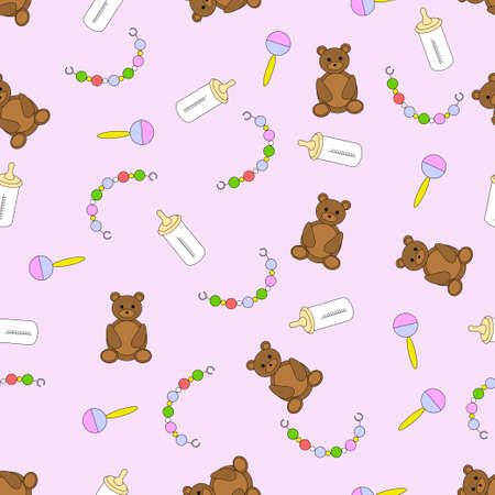 items: seamless pattern with childrens items, vector illustration with baby items on a pink background