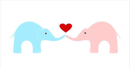 hintergrund liebe: rosa und blauen Elefanten auf wei�em Hintergrund, Liebe Elefanten