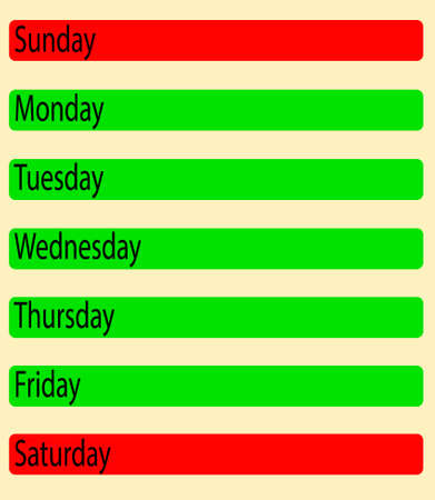 sat: Diary, vector illustration with days of the week Illustration