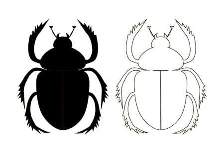 scarabeo: silhouette della scarabeo, una cifra contorno della scarabeo, illustrazione vettoriale con uno scarabeo scarabeo