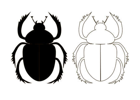 scarab: silhouette of the scarab beetle, a contour figure of the scarab beetle, vector illustration with a beetle-scarab