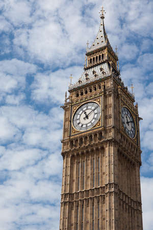 Big Ben in the Clock Tower at the Palace of Westminster in London, Great Britain