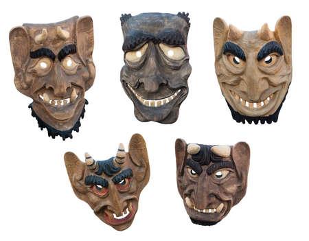 Arte popular de Lituania - Máscaras de madera tradicionales de demonios Foto de archivo - 23960413
