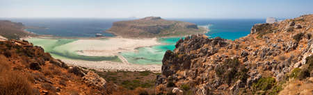 Balos Lagoon with Cap Tigani in the center (panoramic photograph taken from the island of Crete). photo