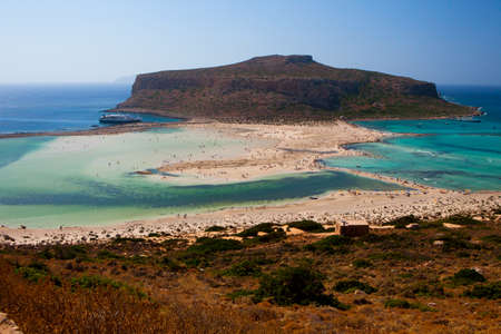 Balos Lagoon with Cap Tigani in the center (photograph taken from the island of Crete). photo