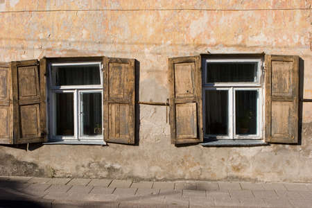 oldtown: Windows with shutters in Vilnius old town