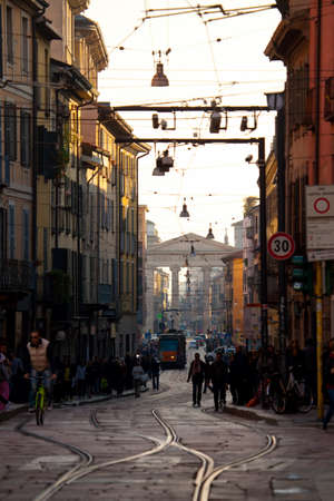 ticinese: MILAN, ITALY - NOV 2: Busy urban life in the street of Milan, Italy on 2 November, 2012.