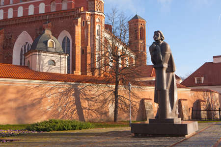 mickiewicz: VILNIUS, LITHUANIA - NOVEMBER 9: Adam Mickiewicz monument in the vicinity of the Saint Anne