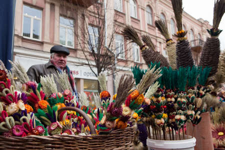 tradespeople: VILNIUS, LITHUANIA - MARCH 7: Palms are symbolic wares in annual traditional crafts fair - Kaziuko fair on Mar 7, 2009
