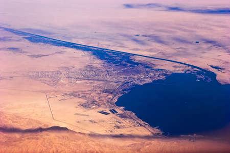Aerial view of Suez Canal and seaport Suez, Egypt Archivio Fotografico