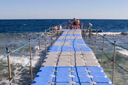 Pontoon bridge in the Red sea photo