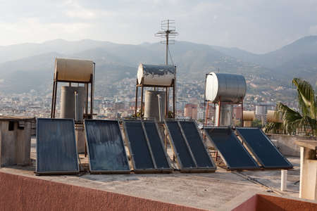 Sollar thermal collectors for water heating on the roofs of Alanya, Turkey
