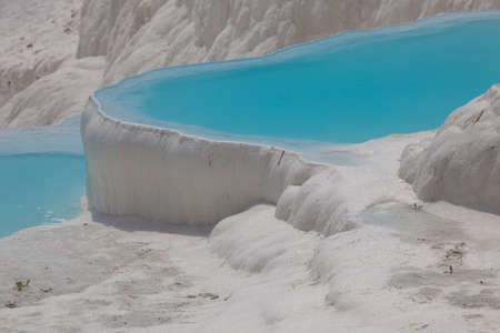 carbonate: Pamukkale, natural site in south-western Turkey, contains hot springs and travertines, terraces of carbonate minerals left by the flowing water Stock Photo