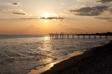 Sunset in Turkish coast of Mediterranean sea