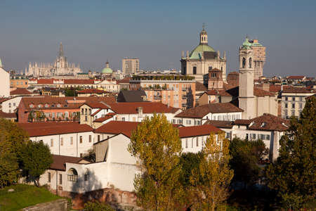 oldtown: Cityscape of Milan old-town with Basilica of San Lorenzo and Duomo Stock Photo