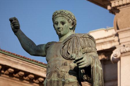 constantine: Monument to Roman emperor Constantine I  in Milan, in front of San Lorenzo Maggiore basilica. This bronze statue is a modern copy of a Roman statue in Rome.
