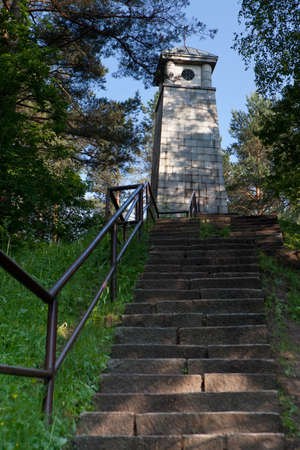buit in: One of tje main landmarks in Anyksciai, monument Laimes Ziburys, buit on the grave on the famous lithuanian writer Jonas Biliunas, located on the hill Liudiskiu, Anyksciai, Lithuania.