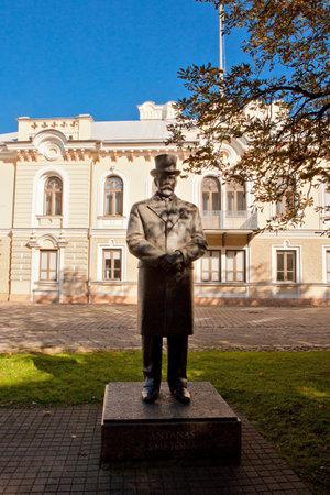 kaunas: KAUNAS, LITHUANIA - OCT 5: Monument of president Antanas Smetona on October 5, 2013 in Kaunas. Statue stands in the garden of Historical Presidential Palace, sculptor A. Vaura.