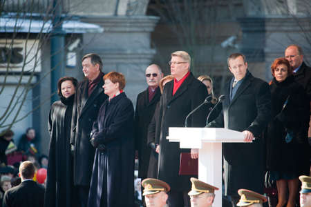goverment: VILNIUS, LITHUANIA - MARCH 11:  President of Republic of Latvia Valdis Zatlers is making speech during 20th Anniversary of Restoration of Independence of Lithuania on Mar 11, 2010 Editorial