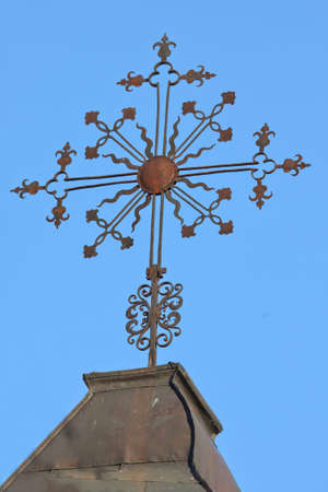 crux: Christian cross, the best-known religious symbol of Christianity, on the roof of Bernardine church in Vilnius, Litnuania