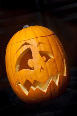 hollows: Traditionally carved orange halloween pumpkin