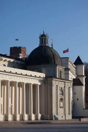 sainthood: Two flags of Lithuania in Cathedral square in Vilnius, Lithuania Stock Photo