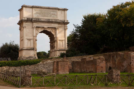 The Arch of Titus (Arco di Tito), a 1st-century honorific arch, located on the Via Sacra, Rome, just to the south-east of the Roman Forum.
