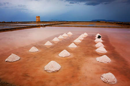 mounds: Mounds of salt in the Museum of Salt (Saline di Nubia - Museo del Sale) in Sicily, Italy Stock Photo