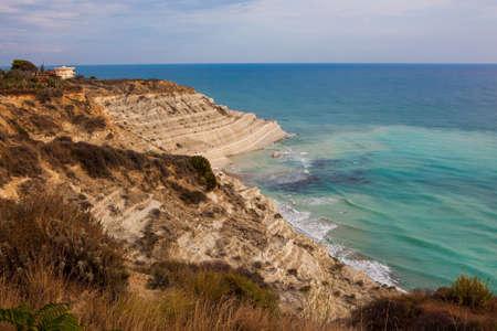 scala: Scala dei Turchi, rocky cliff on the coast of Realmonte, southern Sicily, Italy.