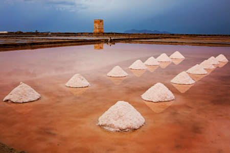Mounds of salt in the Museum of Salt (Saline di Nubia - Museo del Sale) in Sicily, Italy