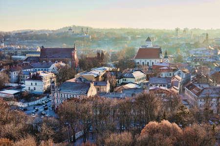 vilnius: Vilnius cityscape, aerial view from Gediminas