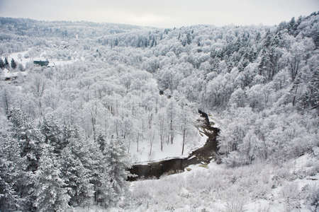 scarp: View of Vilnia river from geological Puckoriai exposure, formed in the ice-age. This is the highest exposure in Lithuania, 65 m high. Stock Photo