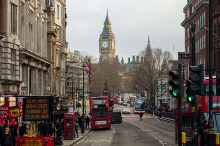 street life: London, UK - January 30, 2015: Busy street life and traffic in London streets on Jan 30, 2015.