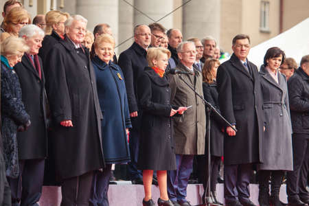 politicians: Vilnius, Lithuania - March 11, 2015: Many well known politicians took part in a festive parade as Lithuania marked the 25th anniversary of its independence restoration on March 11, 2015 in Vilnius, Lithuania.