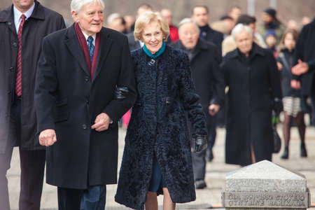 the spouse: Vilnius, Lithuania - March 11, 2015: Former President Valdas Adamkus and his spouse took part in festive parade as Lithuania marked the 25th anniversary of its independence restoration on March 11, 2015 in Vilnius, Lithuania.
