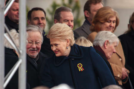 dalia: Vilnius, Lithuania - March 11, 2015: President Dalia Grybauskaite and former president Vytautas Landsbergis  took part in festive parade as Lithuania marked the 25th anniversary of its independence restoration on March 11, 2015 in Vilnius, Lithuania.